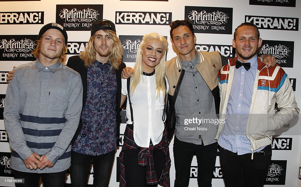 Jake Hardy, Cam Adler, Jenna McDougall, Whakaio Taahi and Matt Best of Tonight Alive attend The Kerrang! Awards at the Troxy on June 13, 2013 in London, England.