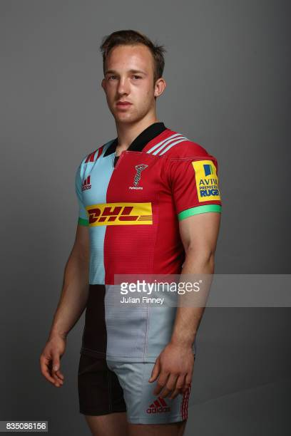 Jake Hennessey of Quins poses for a portrait during the Harlequins photocall for the 20172018 Aviva Premiership Rugby season at The Stoop on August...