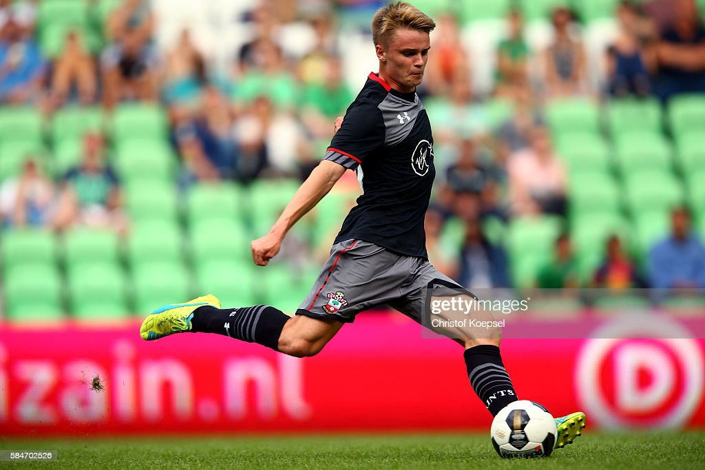 Jake Hesketh of Southampton runs with the ball during the friendly match between FC Groningen an FC Southampton at Euroborg Stadium on July 30 2016...