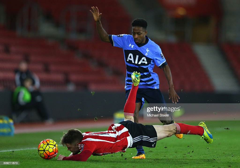 Jake Hesketh of Southampton U21 is fouled by Kyle Walker-Peters of Tottenham Hotspur U21 during the Barclays U21 Premier League match between Southampton and Tottenham Hotspur at St Mary's Stadium on February 9, 2016 in Southampton, England.