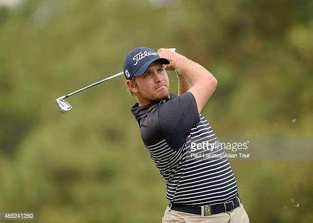 Jake Higginbottom of Australia plays a shot during round one of the Yeangder Tournament Players Championship at Linkou lnternational Golf and Country...