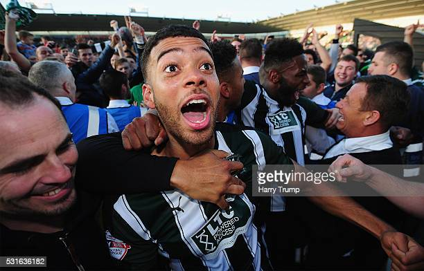 Jake Jervis of Plymouth Argyle celebrates during the Sky Bet League Two Play Offs Second Leg match between Plymouth Argyle and Portsmouth at Home...