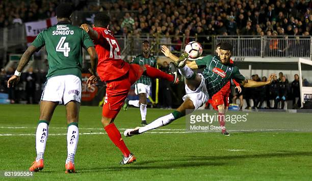 Jake Jervis of Plymouth Argyle hits the post with an acrobatic effort during The Emirates FA Cup Third Round Replay match between Plymouth Argyle and...