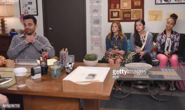 Jake Johnson and guest stars Saylor Curda Olivia Rodrigo and Makayla Lysiak in the 'Young Adult' episode of NEW GIRL airing Tuesday Feb 28 on FOX