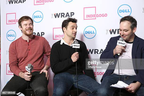 Jake Johnson Joe Swanberg and host Jeff Snider speak at the TheWrap's Live Interview Lounge at Chefdance on January 25 2015 in Park City Utah