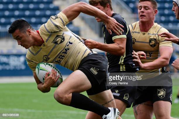 Jake Lachina of Army is pursued by Lindenwood during the first half at Talen Energy Stadium on June 3 2017 in Chester Pennsylvania Saturday was the...