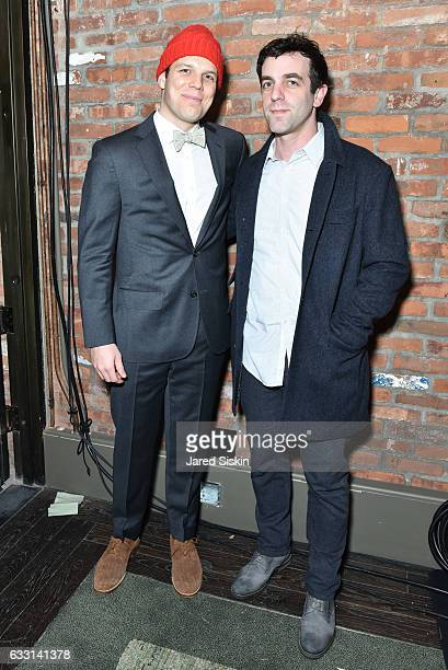 Jake Lacy and B J Novak attend Billy Reid Front Row NYFW Men's at The Cellar at The Beekman on January 30 2017 in New York City