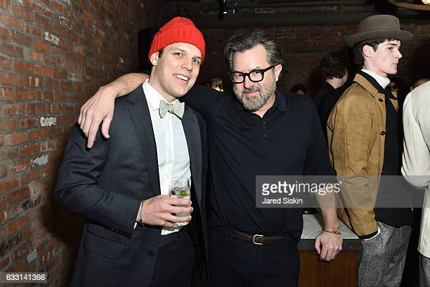 Jake Lacy and Billy Reid attend Billy Reid Backstage NYFW Men's at The Cellar at The Beekman on January 30 2017 in New York City