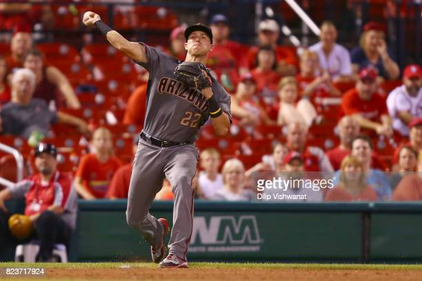 Jake Lamb of the Arizona Diamondback throws to first base against the St Louis Cardinals in the ninth inning at Busch Stadium on July 27 2017 in St...
