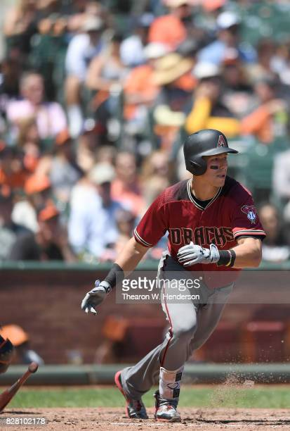 Jake Lamb of the Arizona Diamondbacks bats against the San Francisco Giants in the top of the fourth inning at ATT Park on August 6 2017 in San...