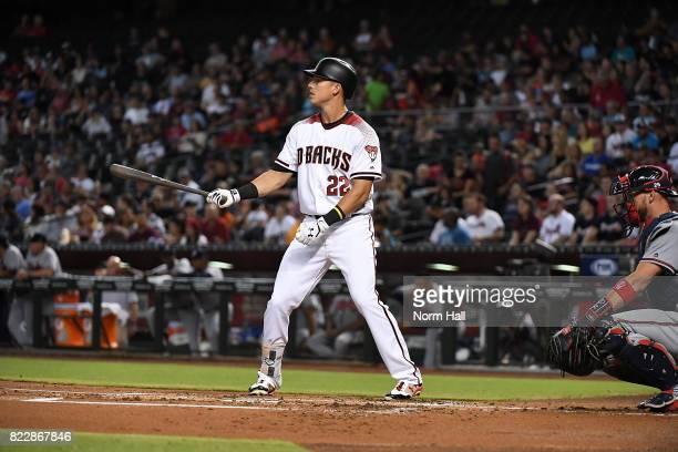 Jake Lamb of the Arizona Diamondbacks gets ready in the batters box against the Atlanta Braves at Chase Field on July 24 2017 in Phoenix Arizona