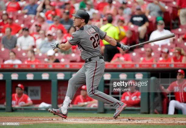 Jake Lamb of the Arizona Diamondbacks hits a three run home run in the first inning against the Cincinnati Reds at Great American Ball Park on July...