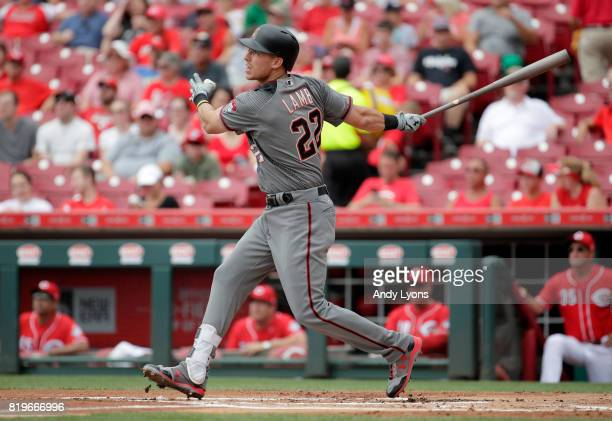 Jake Lamb of the Arizona Diamondbacks hits a three run home run in the first inning against the Cincinnati Reds at Great American Ball Park on July...