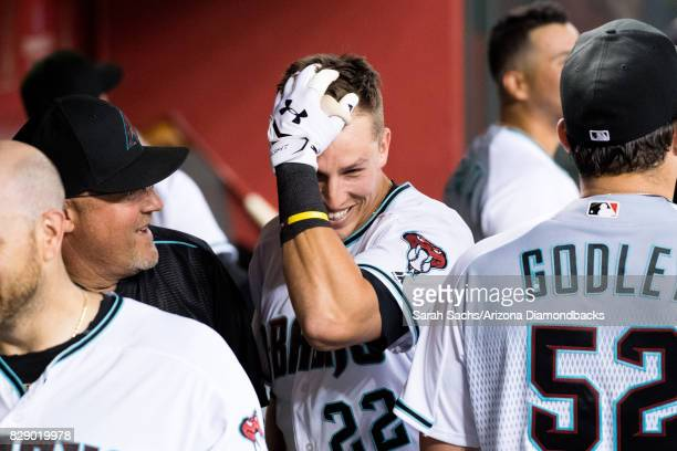 Jake Lamb of the Arizona Diamondbacks reacts after hitting a goahead grand slam during a game against the Los Angeles Dodgers at Chase Field on...