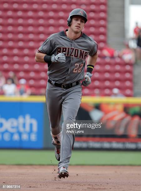 Jake Lamb of the Arizona Diamondbacks runs the bases after hitting a three run home run in the first inning against the Cincinnati Reds at Great...