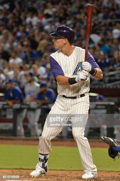 Jake Lamb of the Arizona Diamondbacks stands at bat against the Los Angeles Dodgers at Chase Field on August 10 2017 in Phoenix Arizona