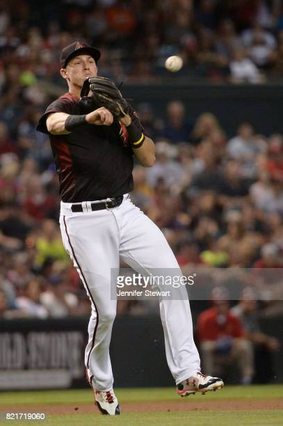 Jake Lamb of the Arizona Diamondbacks throws the ball to make the out at against the Washington Nationals at Chase Field on July 22 2017 in Phoenix...