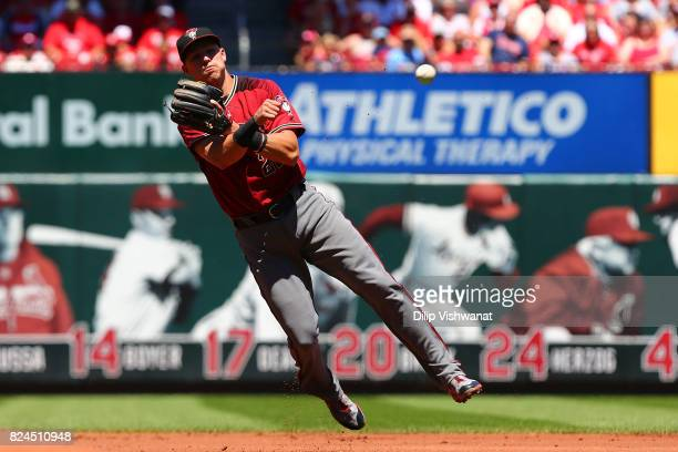 Jake Lamb of the Arizona Diamondbacks throws to first base against the St Louis Cardinals in the first inning at Busch Stadium on July 30 2017 in St...