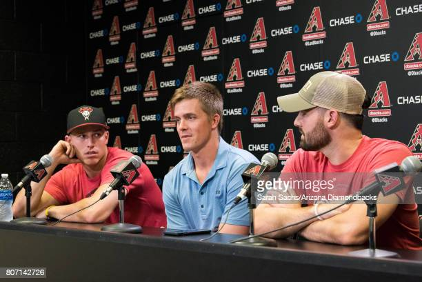 Jake Lamb Zack Greinke and Robbie Ray of the Arizona Diamondbacks talk with media following the announcement of making the AllStar team at Chase...
