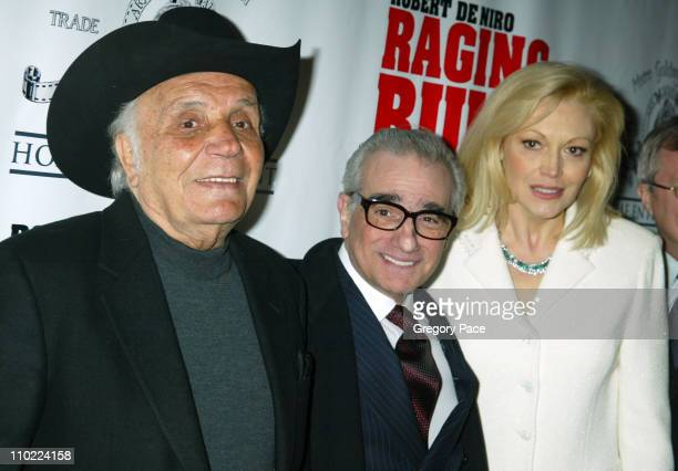 Jake LaMotta Martin Scorsese and Cathy Moriarty during 'Raging Bull' 25th Anniversary and Collector's Edition DVD Release Celebration Inside Arrivals...