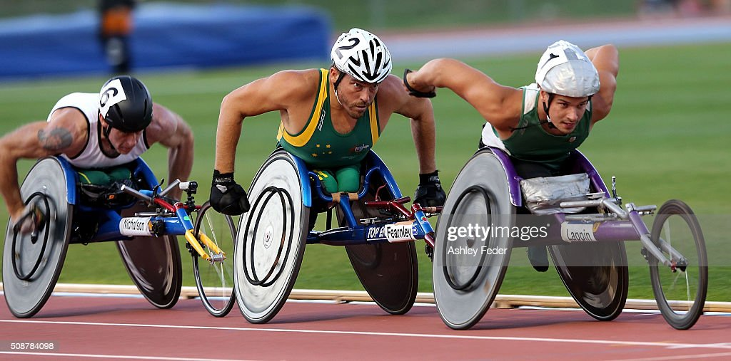 Jake Lappin (R) leads ahead of <a gi-track='captionPersonalityLinkClicked' href=/galleries/search?phrase=Kurt+Fearnley&family=editorial&specificpeople=2906682 ng-click='$event.stopPropagation()'>Kurt Fearnley</a> (C) and Richard Nicholson (L) during the IPC Athletics Grand Prix on February 6, 2016 in Canberra, Australia.