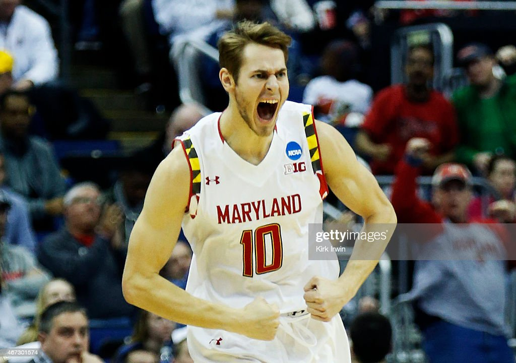 Jake Layman #10 of the Maryland Terrapins celebrates after a three-pointer against the West Virginia Mountaineers in the first half during the third round of the 2015 NCAA Men's Basketball Tournament at Nationwide Arena on March 22, 2015 in Columbus, Ohio.