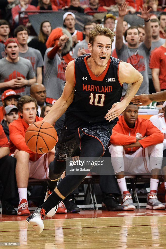 <a gi-track='captionPersonalityLinkClicked' href=/galleries/search?phrase=Jake+Layman&family=editorial&specificpeople=9973489 ng-click='$event.stopPropagation()'>Jake Layman</a> #10 of the Maryland Terrapins controls the ball against the Ohio State Buckeyes on January 29, 2015 at Value City Arena in Columbus, Ohio.