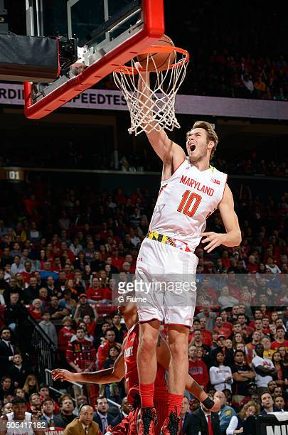 Jake Layman of the Maryland Terrapins dunks the ball against the Ohio State Buckeyes at Xfinity Center on January 16 2016 in College Park Maryland