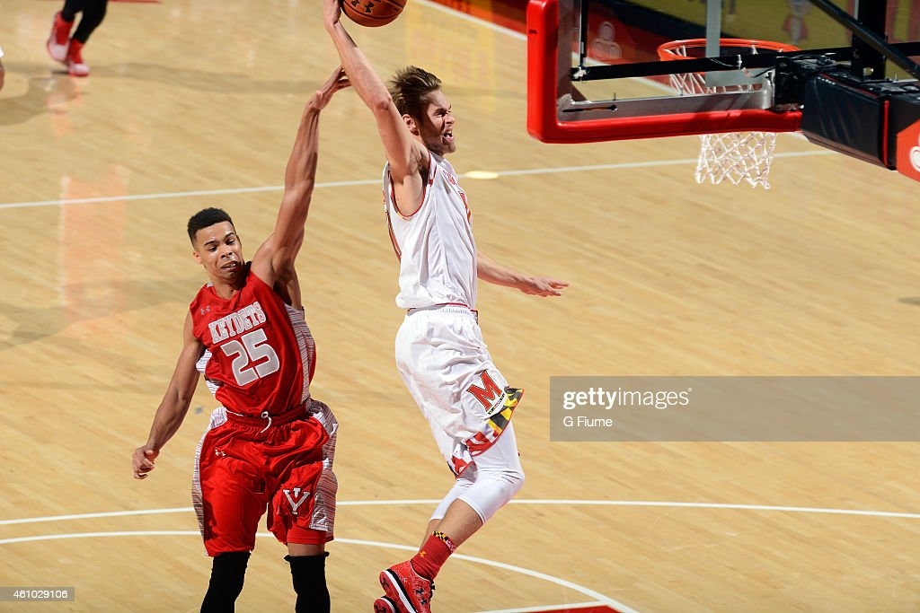 <a gi-track='captionPersonalityLinkClicked' href=/galleries/search?phrase=Jake+Layman&family=editorial&specificpeople=9973489 ng-click='$event.stopPropagation()'>Jake Layman</a> #10 of the Maryland Terrapins dunks the ball against the Virginia Military Keydets at the Xfinity Center on November 30, 2014 in College Park, Maryland.