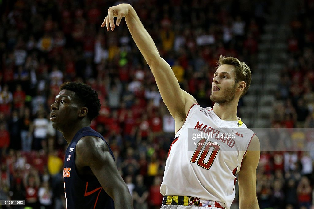 <a gi-track='captionPersonalityLinkClicked' href=/galleries/search?phrase=Jake+Layman&family=editorial&specificpeople=9973489 ng-click='$event.stopPropagation()'>Jake Layman</a> #10 of the Maryland Terrapins follows through on a three-pointer against the Illinois Fighting Illini during the second half at Xfinity Center on March 3, 2016 in College Park, Maryland. The Maryland Terrapins won, 81-55.