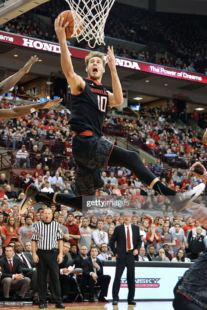 Jake Layman #10 of the Maryland Terrapins lays in two points in the first half against the Ohio State Buckeyes on January 29, 2015 at Value City Arena in Columbus, Ohio.