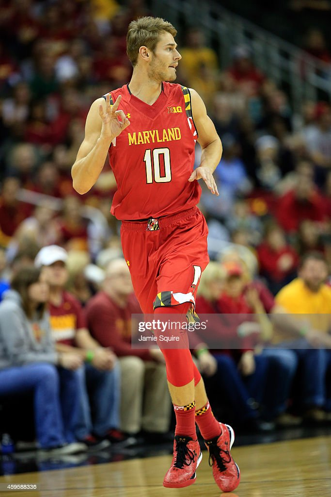 Jake Layman (10) of the Maryland Terrapins reacts after making a three-pointer during the CBE Hall Of Fame Classic final game against the Iowa State Cyclones at Sprint Center on November 25, 2014 in Kansas City, Missouri.