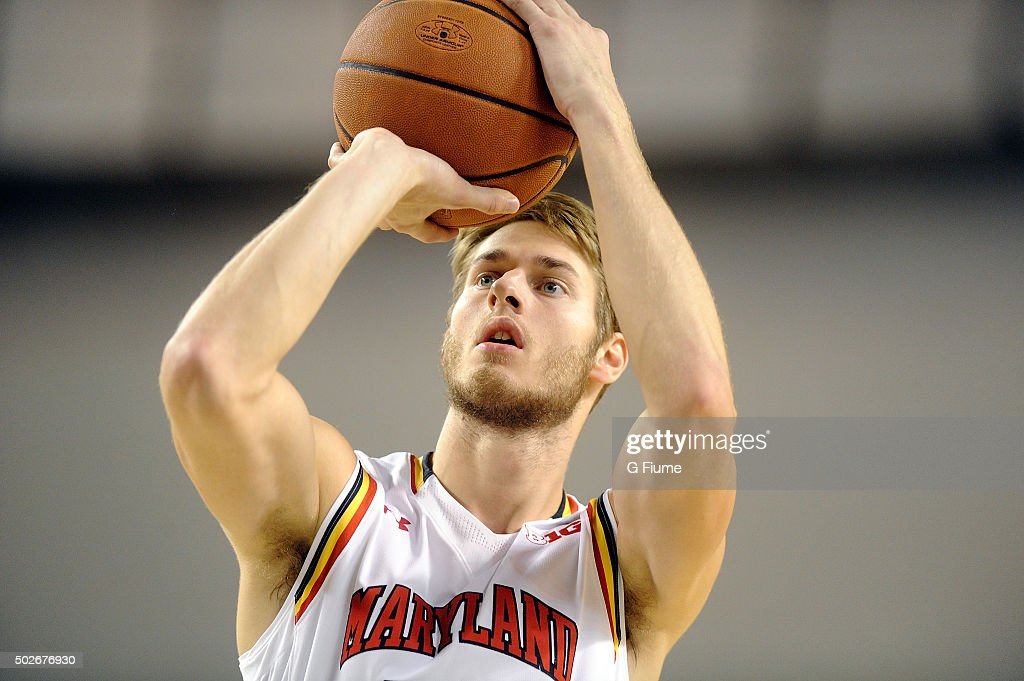<a gi-track='captionPersonalityLinkClicked' href=/galleries/search?phrase=Jake+Layman&family=editorial&specificpeople=9973489 ng-click='$event.stopPropagation()'>Jake Layman</a> #10 of the Maryland Terrapins shoots a free throw against the Princeton Tigers at Royal Farms Arena on December 19, 2015 in Baltimore, Maryland.