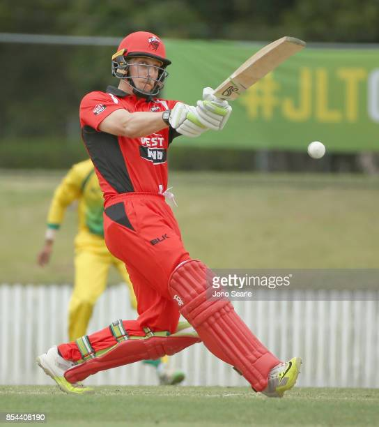 Jake Lehmann of SA hits the ball during the JLT One Day Cup match between South Australia and the Cricket Australia XI at Allan Border Field on...