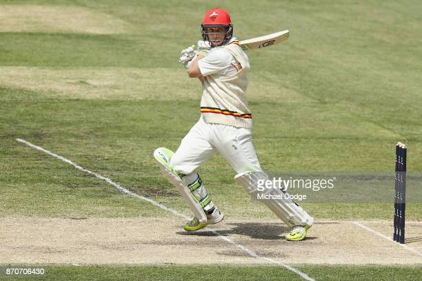 Jake Lehmann of South Australia bats during day three of the Sheffield Shield match between Victoria and South Australia at Melbourne Cricket Ground...
