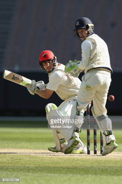 Jake Lehmann of South Australia cuts the ball late past Victoria keeper Sam Harper during day three of the Sheffield Shield match between Victoria...