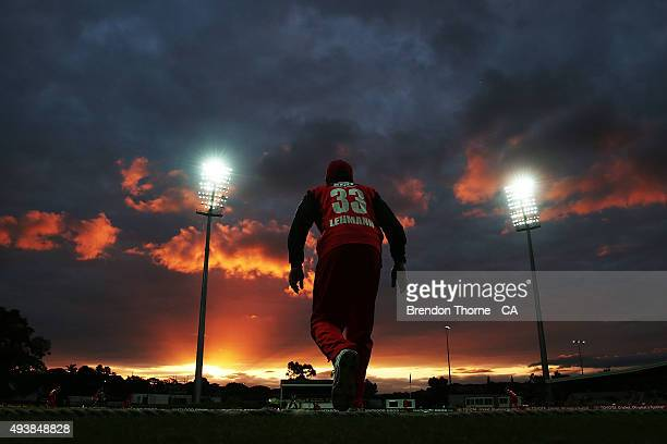 Jake Lehmann of South Australia fields at sunset during the Matador BBQs One Day Cup Elimination Final match between Victoria and South Australia at...