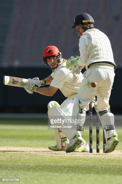 Jake Lehmann of South Australia only just cuts the ball late past the gloves of Victoria keeper Sam Harper during day three of the Sheffield Shield...