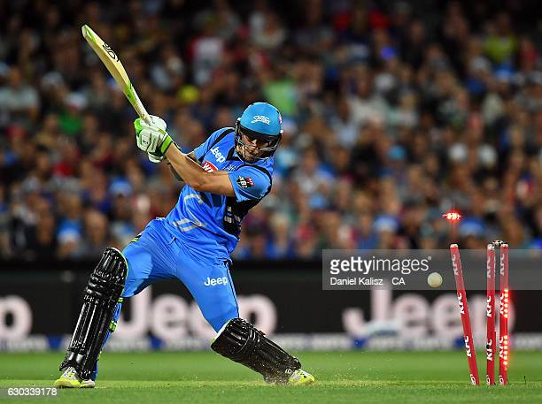 Jake Lehmann of the Adelaide Strikers is bowled out by Mark Steketee of the Brisbane Heat during the Big Bash League match between the Adelaide...