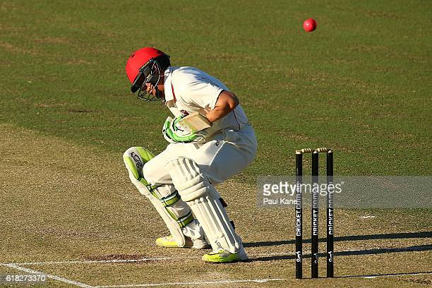 Jake Lehmann of the Redbacks avoids a short pitched delivery from David Moody of the Warriors during day two of the Sheffield Shield match between...