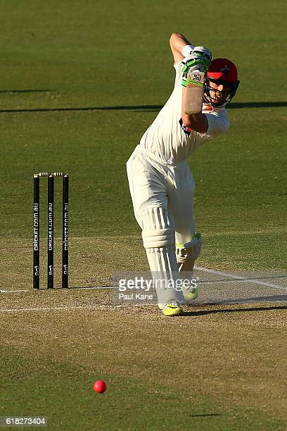 Jake Lehmann of the Redbacks bats during day two of the Sheffield Shield match between Western Australia and South Australia at the WACA on October...