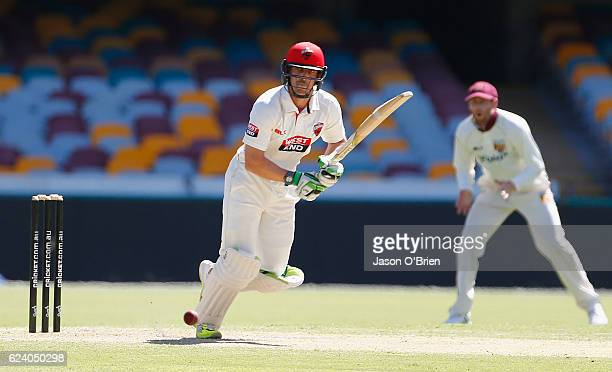 Jake Lehmann of the Redbacks in action during day two of the Sheffield Shield match between Queensland and South Australia at The Gabba on November...