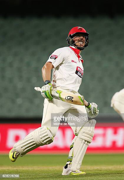 Jake Lehmann of the SA Redbacks celebrates after hitting the winning run during day three of the Sheffield Shield match between South Australia and...