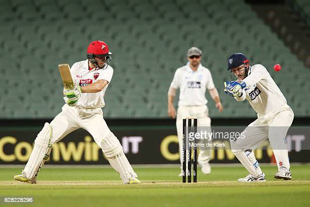 Jake Lehmann of the SA Redbacks hits the winning run during day three of the Sheffield Shield match between South Australia and New South Wales at...