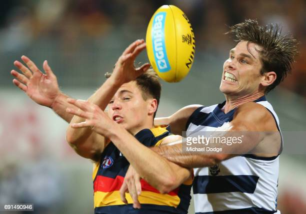 Jake Lever of the Crows and Tom Hawkins of the Cats compete for the ball during the round 11 AFL match between the Geelong Cats and the Adelaide...