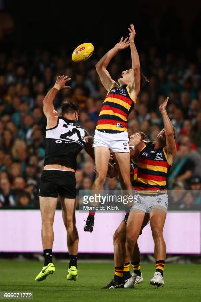 Jake Lever of the Crows competes for the ball during the round three AFL match between the Port Adelaide Power and the Adelaide Crows at Adelaide...