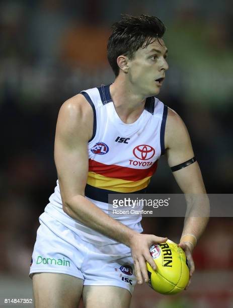 Jake Lever of the Crows controls the ball during the round 17 AFL match between the Melbourne Demons and the Adelaide Crows at TIO Stadium on July 15...