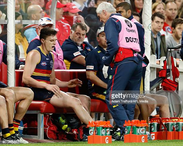 Jake Lever of the Crows is seen injured during the 2016 AFL First Semi Final match between the Sydney Swans and the Adelaide Crows at the Sydney...