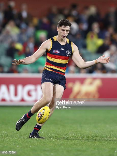 Jake Lever of the Crows kicks during the round 16 AFL match between the Adelaide Crows and the Western Bulldogs at Adelaide Oval on July 7 2017 in...