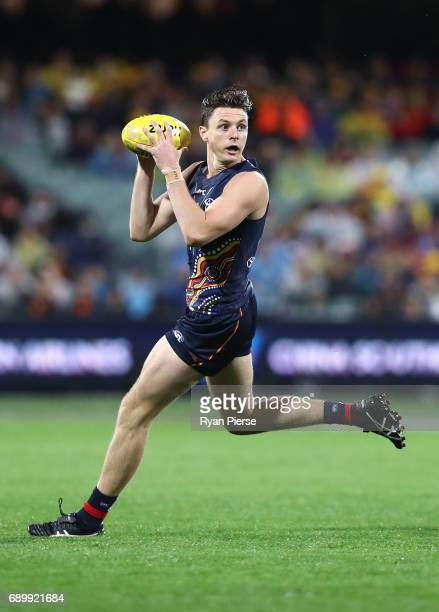 Jake Lever of the Crows looks upfield during the round 10 AFL match between the Adelaide Crows and the Fremantle Dockers at Adelaide Oval on May 27...